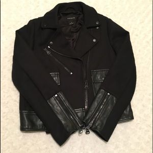 Club Monaco Short Leather Accent Jacket
